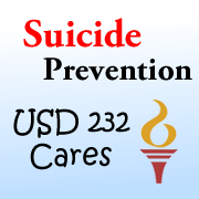 Graphic for USD 232 Cares about suicide prevention