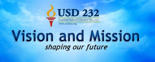 "Graphic with district logo with title ""Vision and Mission, shaping our future"""