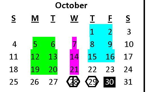 Graphic calendar for the month of October.