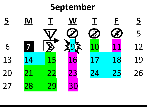 Graphic of the month of September, color coded to indicate a hybrid schedule.