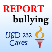 Image of report bullying, USD 232 Cares icon